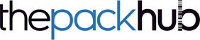 the pack hub blue and black text logo