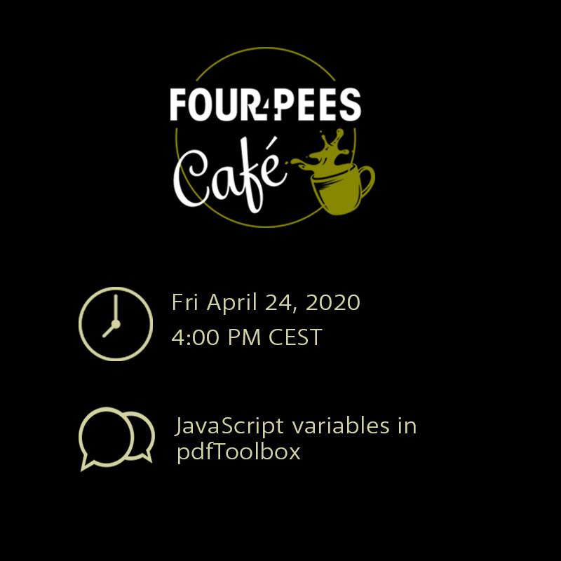 Four Pees Café – variables in callas pdfToolbox